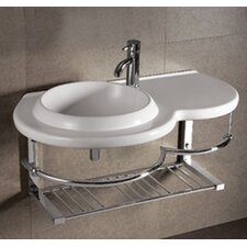 Isabella Large Round Bowl Bathroom Sink with Chrome Shelf and Towel Bar