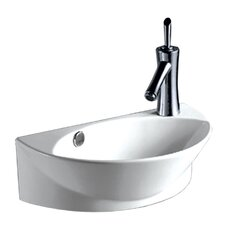 """Isabella 17.38"""" Half-Oval Wall Mount Basin with Overflow"""