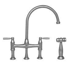 Queenhaus Double Handle Deck Mounted Kitchen Faucet with Side Spray