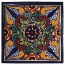 "Geraniums 6"" x 6"" Hand Painted Talavera Tile"
