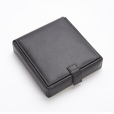 Royce Leather Men's Cufflink Watch and Jewelry Travel Valet Box in Leather with Suede Lining