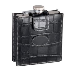 Royce Leather Crocodile Embossed Genuine Leathe Case with 5 Ounce Stainless Steel Flask