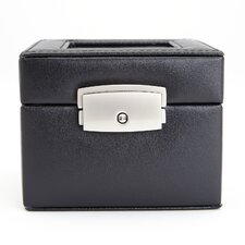 Genuine Leather Two Slot Watch Box Display Case