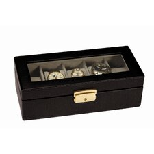 Royce Leather Men's 5 Slot Watch Box in Genuine Leather