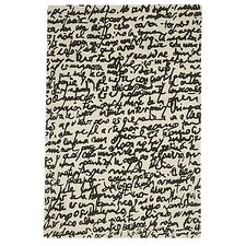 Black On White Manuscrit Area Rug