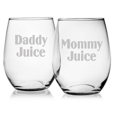 Mommy Juice and Daddy Juice 21 Oz. Stemless Wine Glass (Set of 2)