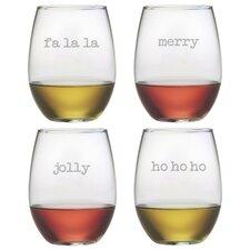 Fa La La Stemless Wine Glass (Set of 4)