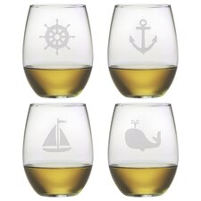 Nautical Icons Stemless Wine Glass (Set of 4)