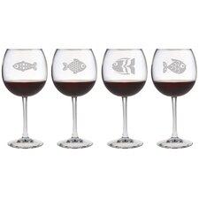 Fish Assortment Red Wine Glass (Set of 4)