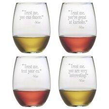 Trust Me Stemless Wine Glass (Set of 4)