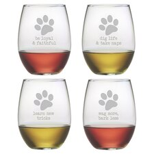 Dog Wisdom 21 Oz. Stemless Wine Glass (Set of 4)