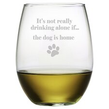The Dog is Home 21 Oz. Stemless Wine Glass (Set of 4)
