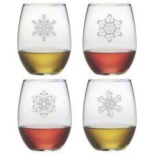 Abstract Snowflake Stemless Wine Glass (Set of 4)