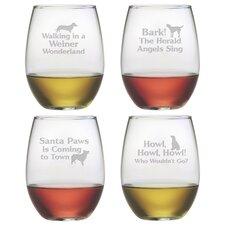 Canine Carols Stemless Wine Glass
