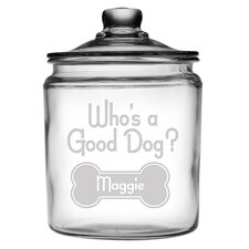 Personalized Who's a Good Dog Half Gallon Treat Jar