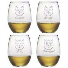 Feline Faces 21 Oz. Stemless Wine Glass (Set of 4)