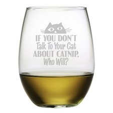 Talk to Your Cat Stemless Wine Glass (Set of 4)