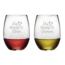 My Heart Belongs Stemless Wine Glass (Set of 2)