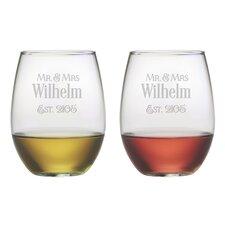Mr. & Mrs. Established Stemless Wine Glass (Set of 2)