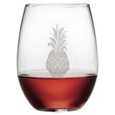 Pineapple Hand-Cut Stemless Wine Glass (Set of 4)