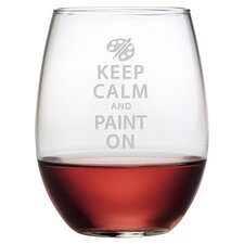 Keep Calm & Paint On Stemless Wine Glass (Set of 4)