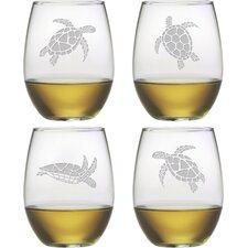Sea Turtle Stemless Wine Glass (Set of 4)
