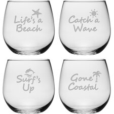 Life's a Beach Stemless Wine Glass (Set of 4)