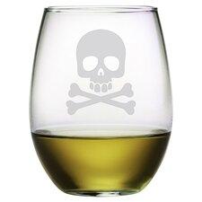 Skull & Crossbones Stemless Wine Glass (Set of 4)