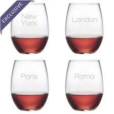 Jetsetter 4 Piece Stemless Wine Glass Set