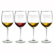 Say It 4 Piece 19 oz. Assorted Wine Glass Set