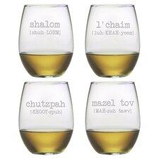 Shalom 4 Piece Stemless Wine Glass Set