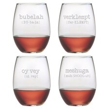 Yiddish 4 Piece Stemless Wine Glass Set