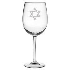 Star of David 4 Piece White Wine Glass (Set of 4)