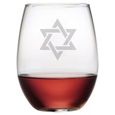 Star of David 4 Piece Stemless Wine Glass (Set of 4)