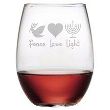 Peace Love Light 4 Piece Stemless Wine Glass (Set of 4)
