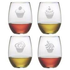 Cupcake 4 Piece 21 oz. Assorted Wine Glass Set