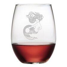 Mermaid 4 Piece Stemless Wine Glass (Set of 4)