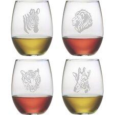 Animalia 4 Piece Assorted Wine Glass Set