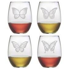 Butterflies 4 piece 21oz. Wine Glass (Set of 4)