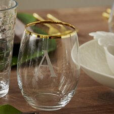 Block Monogram Gold-Rimmed Stemless Wine Glass (Set of 4)