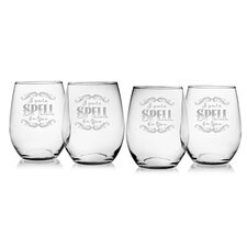 I Put a Spell on You Stemless 21 oz. Red Wine Glass (Set of 4)