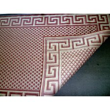 Greek Key Burgundy/Cream Geometric Indoor/Outdoor Area Rug