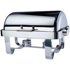Odin Oblong Roll Top Chafing Dish with Stainless Steel Legs, Heater and Spoon Holder