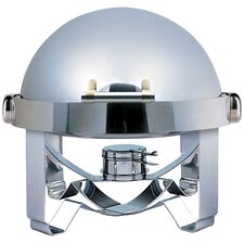 Large Odin Round Roll Top Chafing Dish with Stainless Steel Legs, Heater and Spoon Holder