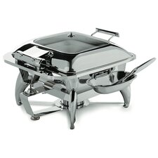 Square Chafing Dish with Glass Lid, Base and Spoon Holder