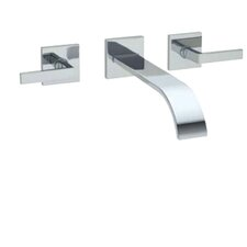 Wave Double Handle Wall Mount Tub Filler Faucet with Lever Handle