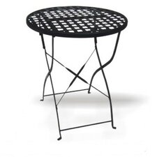 Round Wrought Iron Folding Outdoor Dining Table with Mesh Top