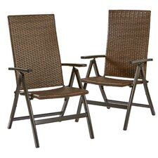 Wicker Outdoor Reclining Zero Gravity Chair (Set of 2)