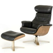 Divani Casa Charles Modern Leather Recliner and Ottoman