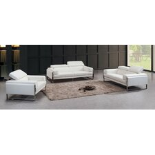 Divani Casa Livorno Leather Sofa Set